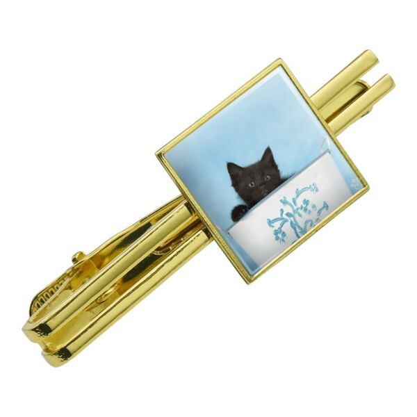 Black Kitten Cat in Bucket Tin Pail Square Tie Bar Clip Clasp Silver or Gold
