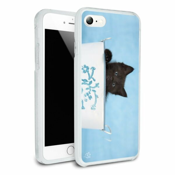Black Kitten Cat in Bucket Tin Pail Hybrid Rubber Bumper iPhone 7 and 7 Plus