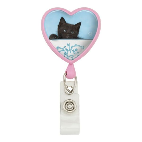 Black Kitten Cat in Bucket Tin Pail Heart Lanyard Reel Badge ID Card Holder