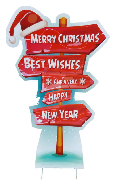 Holiday Directional Outdoor Plastic Yard Sign Christmas Party Lawn Decoration
