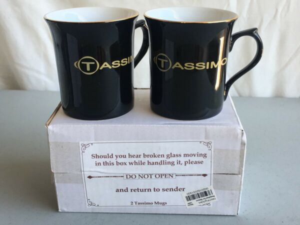 Lot 2 NEW TASSIMO BLACK PORCELAIN COFFEE TEA MUG CUP from BLOOMINGDALE'S      AG