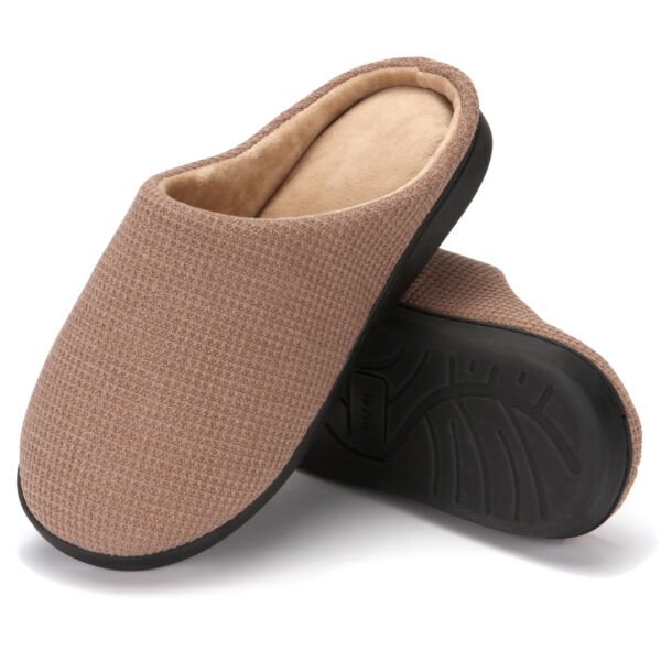 Puls size Men's Classic Two-Tone Memory Foam Plush House Slippers Indoor Shoes