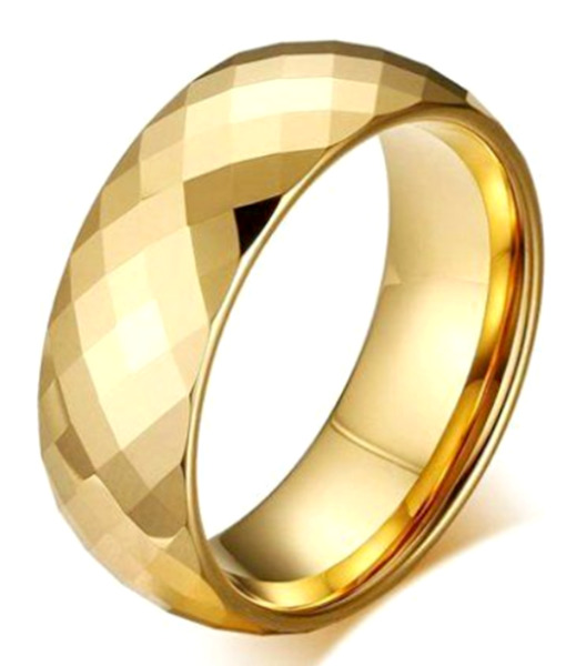 Gold Plated Tungsten Carbide Faceted RING BAND sizes - 7 8 9 10 11 12 13