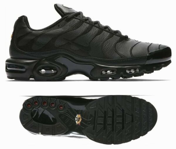 New NIKE Air Max Plus Leather Men's Sneakers triple black all sizes