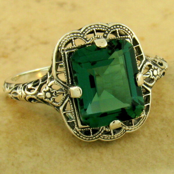 ART DECO 3 CT GREEN QUARTZ 925 STERLING SILVER ANTIQUE FINISH RING        #1150