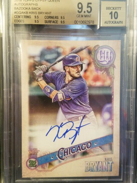 2018 Gypsy Queen Kris Bryant Auto Bazooka Back #'d 1125 Chicago Cubs BGS 9.5