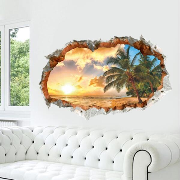 US 3D Wall Stickers Beach Palm Tree Window Room Decal Wallpaper Removable $9.99