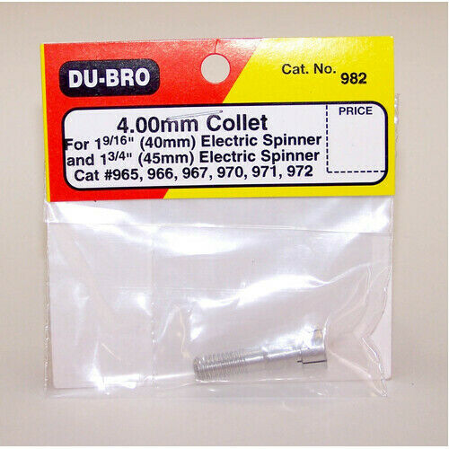 Dubro 982 4.00Mm Collet For 1 916In & 1 34In Elec Spinner (1Pk) - Dbr982