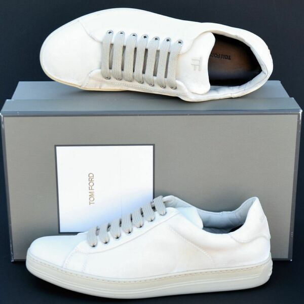 Tom Ford New sz 9.5 Authentic Designer Mens Low Top Sneakers Shoes off white