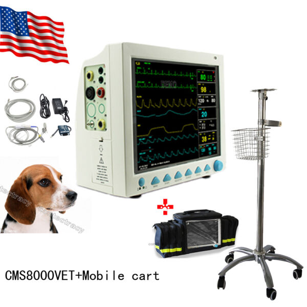 USA Vet Veterinary Patient Monitor 6 ParameterECGNIBPPRSpo2TempRespCEFDA