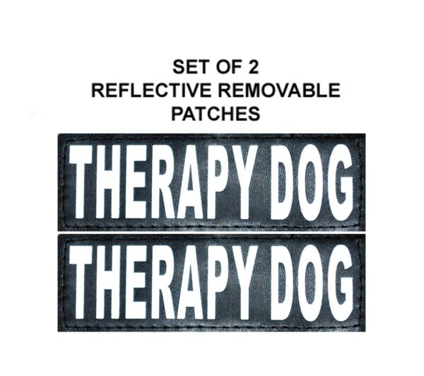 Doggie Stylz Set of 2 Reflective THERAPY DOG Removable Dog Patches Hook Backing $11.99