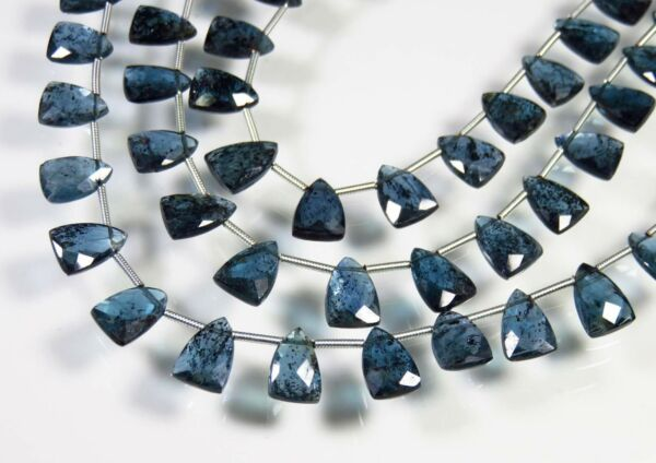 NATURAL TEAL BLUE MOSS KYANITE FANCY SHAPE FACETED BRIOLETTE PAIR BEADS 10x7 mm $41.99