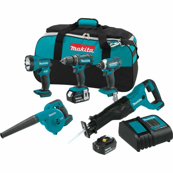 Makita 18 Volt LXT Cordless Drill 5 Piece Combo Power Tool Kit with 2 Batteries