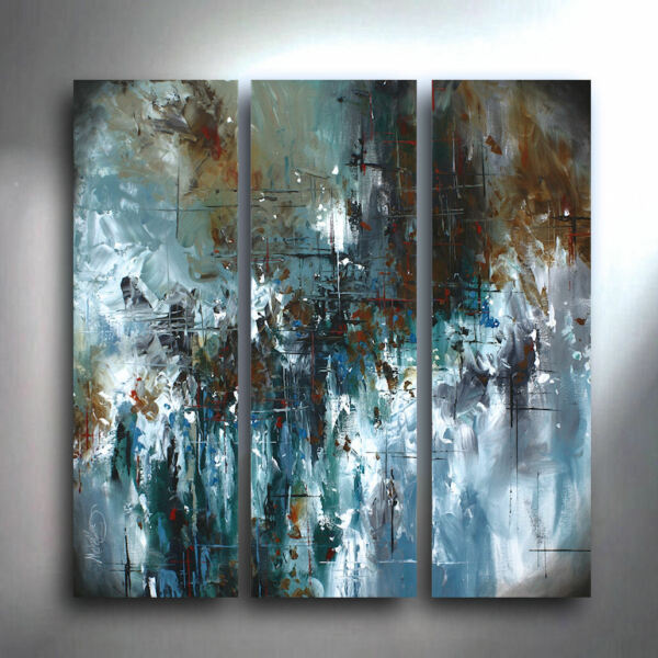Original Art Modern Palette Knife Painting Decor unique 3 piece Michael Lang COA