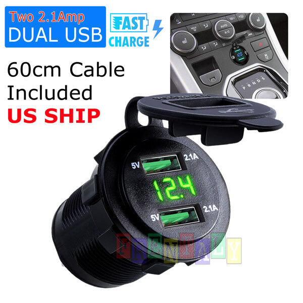 4.2A Dual USB Car Charger 2 Port LED Voltmeter 12 24V Cigarette Socket Lighter $9.75