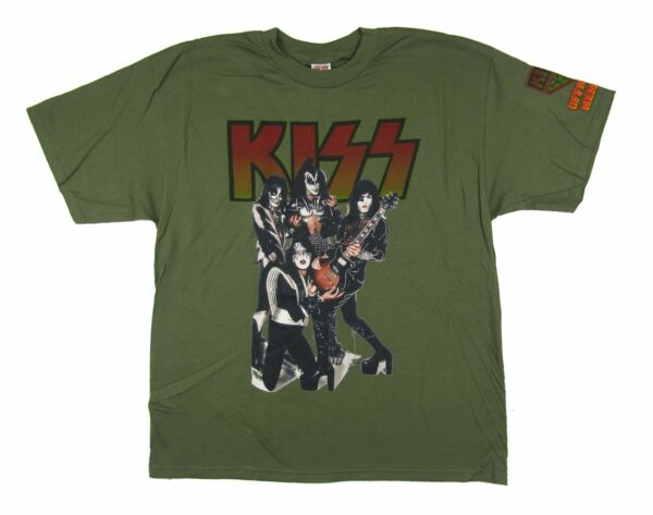 Kiss Official Army Member Green T Shirt New Band Merch Classic Make Up