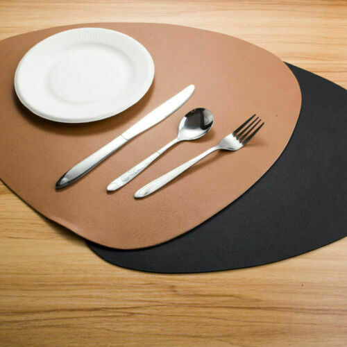 Set of 4 6 8 Faux Leather Placemat Dining Table Place Settings Mats Black Tan