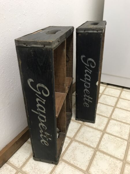 Two-Rare 1950's Vintage GRAPETTE Bottle Soda Wooden Crate Case
