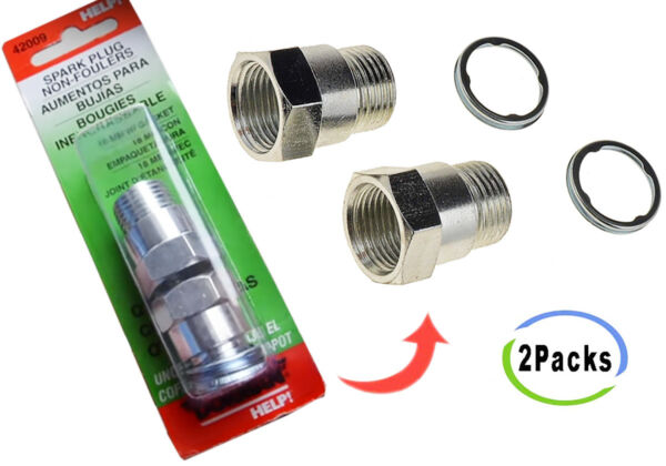 Spark Plug Non Fouler 18 mm 42009 For P0420 CEL O2 Sensor Extender Spacer 2 Pack
