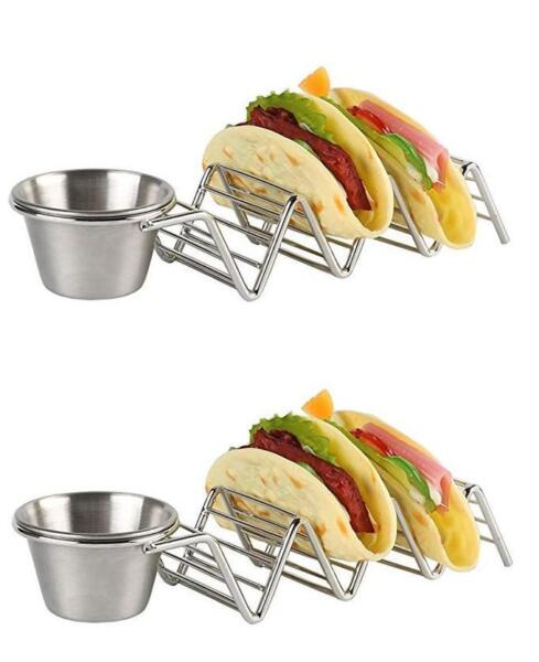 2 pack Taco Holder with Salsa Guacamole Cup Premium Quality Mexican Cooking $14.97