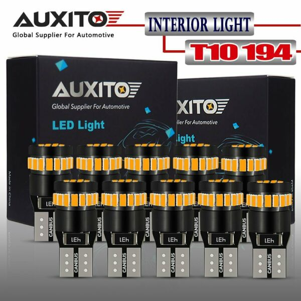 AUXITO 10X T10 CANBUS Amber Yellow 168 194 License Side Marker Light LED Bulb