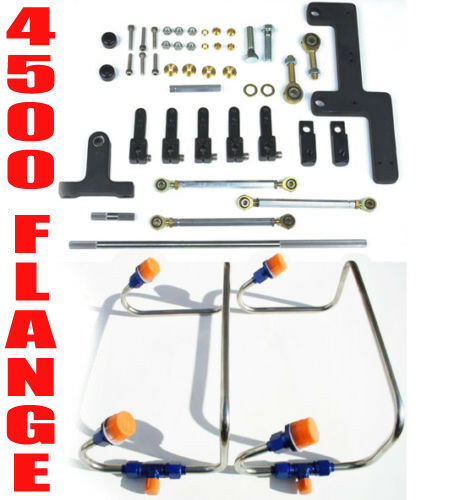 DUAL INLET 4500 DOM MECH BLOWER FUEL LINES BLUE COLOR KIT HOLLEY LINKAGE COMBO $369.99