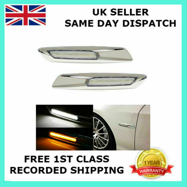 PAIR FOR BMW 3 SERIES 328 330 335 LED MARKER INDICATOR LIGHT DRL SILVER CHROME