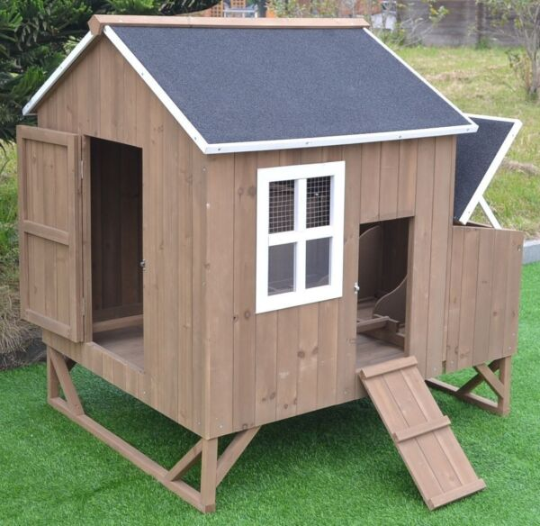 Deluxe Large Wood Chicken Coop Backyard Hen House 4 8 Chickens w 3 nesting box