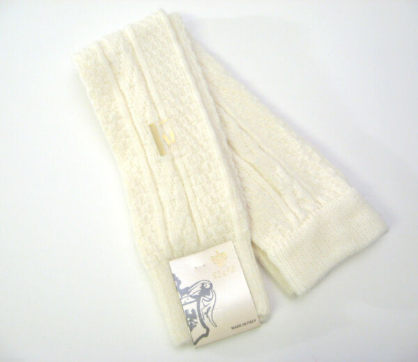 Calze Scanzi Kirby Basket Weave Cable Knit Wool Blend Leg Warmers Ivory - NEW