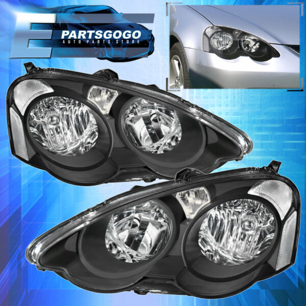 For 02-04 Rsx Dc5 Replacement Headlight Front Lamps Black Housing Clear Lens
