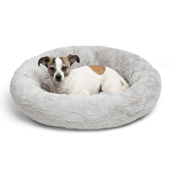 Best Friends by Sheri Orthopedic Relief Donut Cuddler Dog Bed in Gray Lux Fur $22.99