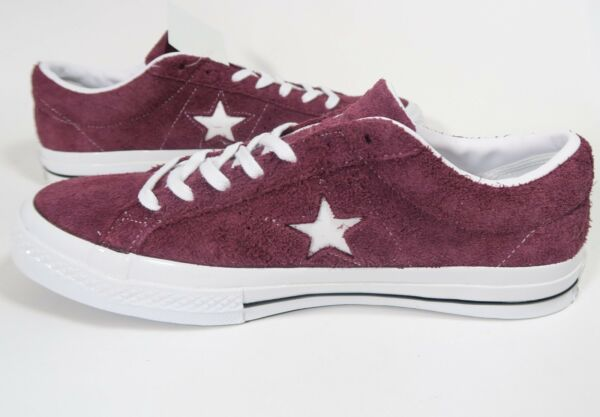 Mens Converse One Star Ox Low Suede Deep Bordeaux White Black 158370C Size 10