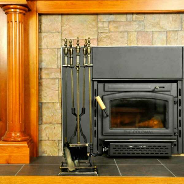 5 Piece Antique Brass Urn Handle Fireplace Tool Set