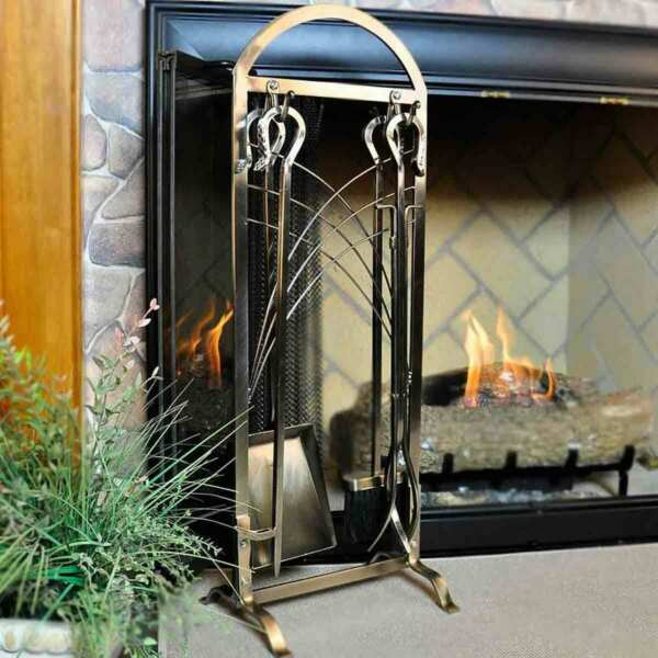 5 Piece Satin Nickel Fireplace Tool Set