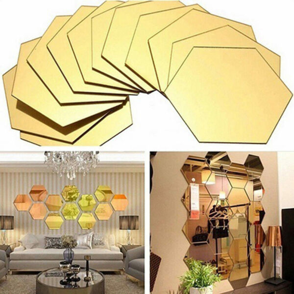 12Pcs 3D Mirror Hexagon Wall Stickers Vinyl Removable Decal Home Decor Art DIY