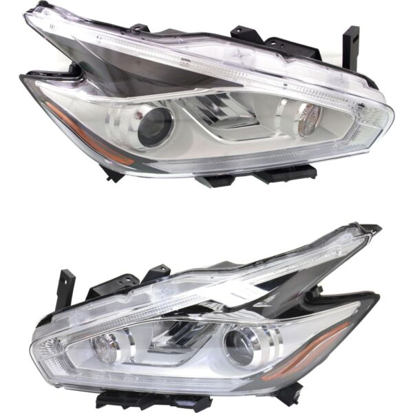 Headlight Set For 2015-2017 Nissan Murano Left and Right LED With Bulb 2Pc