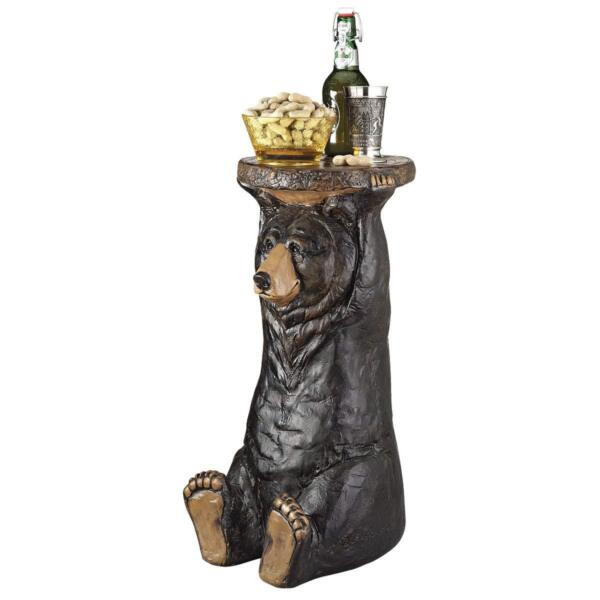 Black Forest Bear Pedestal Table Rustic Cabin Butler Home Decor End Backyard New