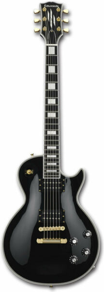Edwards E-LPC Black Les Paul Custom Electric Guitar EMS w Tracking NEW