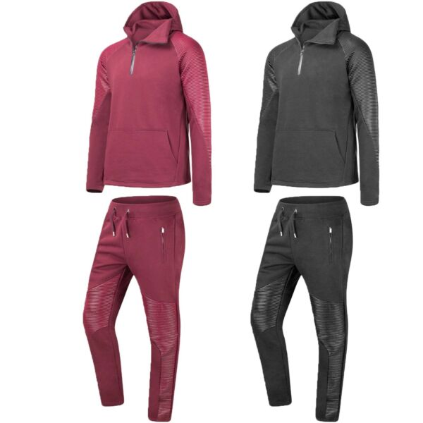 New Men Biker PU Track Suit Set Jogger Jackets Hooded Long Sleeve Sizes S XL $39.99