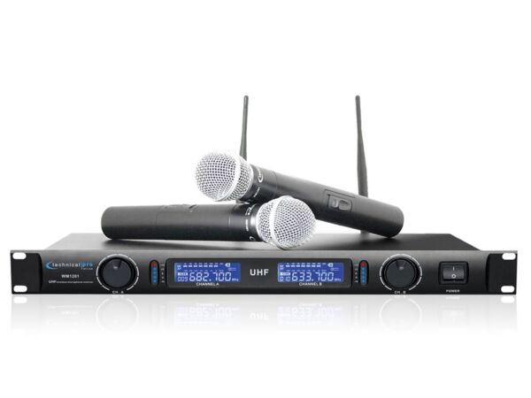 TECHNICAL PRO DUAL UHF WIRELESS CORDLESS PRO PROFESSIONAL MIC MICROPHONE SYSTEM