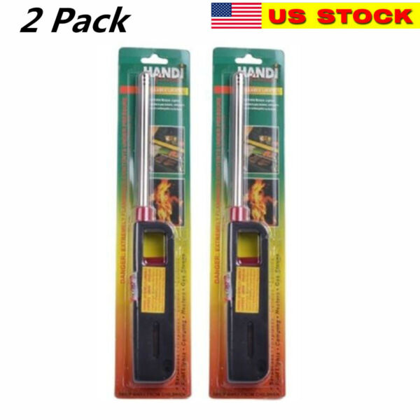 2PK BBQ Grill Lighter Refillable Butane Gas Candle Fireplace Kitchen Stove Long