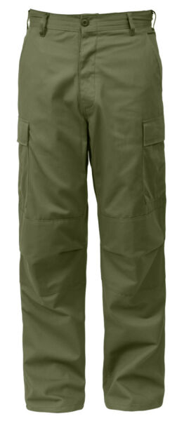 Tactical Pants BDU Style Relaxed Fit Cargo Trousers Green Zipper Fly Rothco 2926