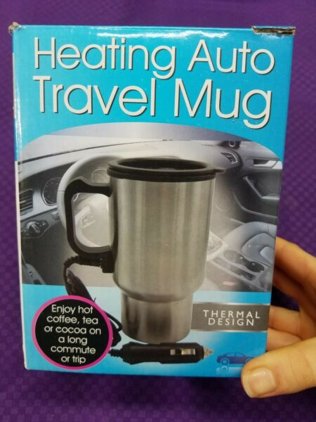 450ml 12V Auto Car Lighter Heating Cup Stainless Steel Coffee Heater Travel Mug