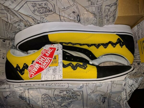 Vans Old Skool x Peanuts Charlie Brown YellowBlack Good Grief All NEW Mens