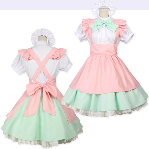 Japanese Lolita Doll Fancy Dress Maid Waitress Uniform Costume for Cosplay Party $24.99