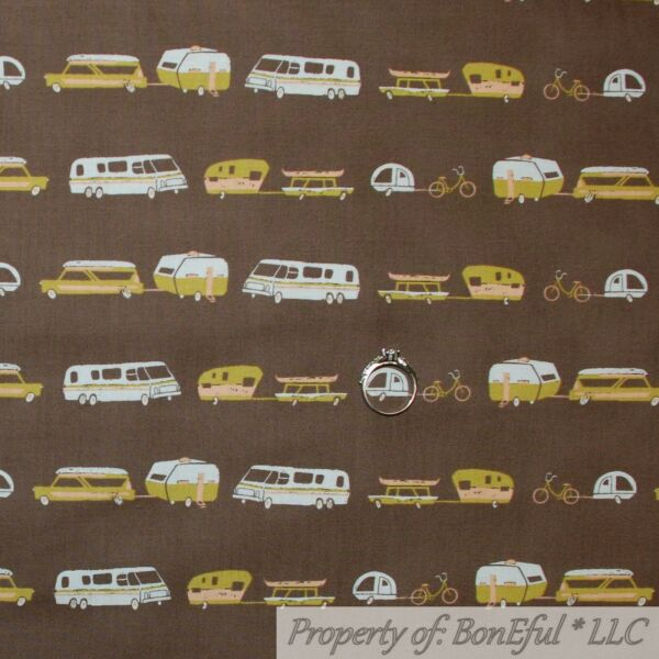 BonEful FABRIC FQ Cotton Quilt Brown White Gold Camper Trailer Bike VTG Antique $7.35
