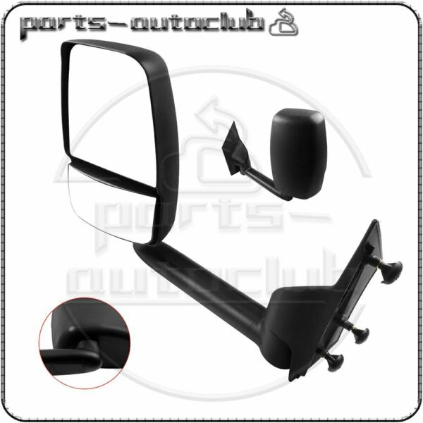 Left Black Smooth Towing Manual Driver Mirror for 2003-11 Chevy Express Savana