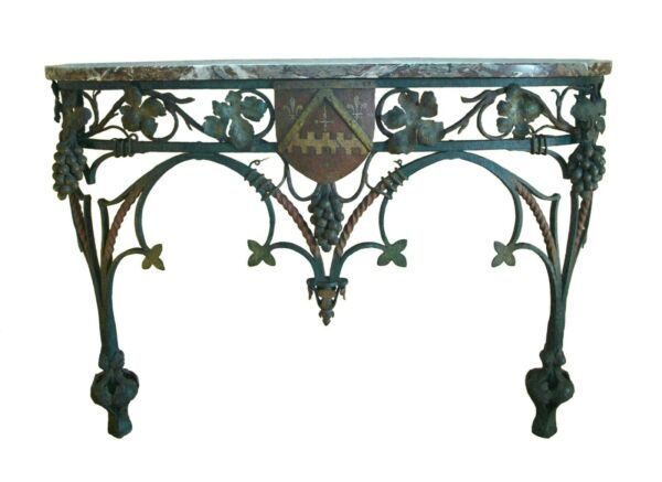 Neo Gothic Wrought Iron & Marble Console Table with Crest - France - Circa 1850