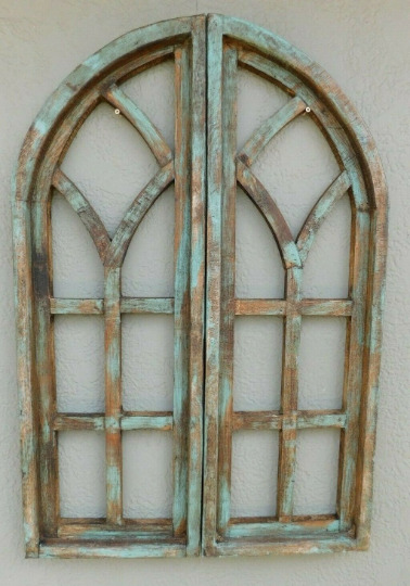 2 Wooden Antique Style Church WINDOW Frame Shutters Wood Gothic 36quot; Shabby Green