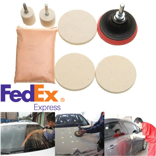 Car Windshield Glass Repair Kit Scratch Removal Polish Powder Polishing Pad US
